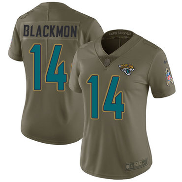 Women's Nike Jacksonville Jaguars #14 Justin Blackmon Olive Stitched NFL Limited 2017 Salute to Service Jerse