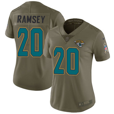 Women's Nike Jacksonville Jaguars #20 Jalen Ramsey Olive Stitched NFL Limited 2017 Salute to Service Jersey