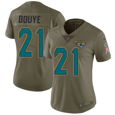 Women's Nike Jacksonville Jaguars #21 A.J. Bouye Olive Stitched NFL Limited 2017 Salute to Service Jersey