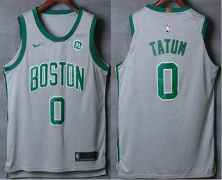 Men's Boston Celtics #0 Jayson Tatum Grey 2017-2018 Nike Authentic General Electric Stitched NBA Jersey