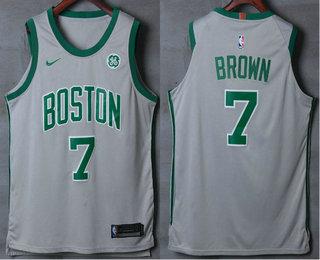 Men's Boston Celtics #7 Jaylen Brown Grey 2017-2018 Nike Authentic General Electric Stitched NBA Jersey