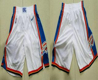 Men's Oklahoma City Thunder White 2017-2018 Nike Swingman Stitched NBA Shorts