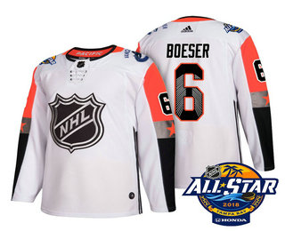 Men's Vancouver Canucks #6 Brock Boeser White 2018 NHL All-Star Stitched Ice Hockey Jersey