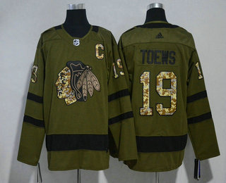 Men's Chicago Blackhawks #19 Jonathan Toews Green Salute to Service 2017-2018 Hockey Stitched NHL Jersey
