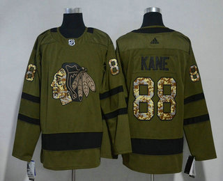 Men's Chicago Blackhawks #88 Patrick Kane Green Salute to Service 2017-2018 Hockey Stitched NHL Jersey