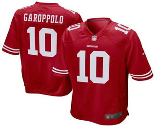 Men's San Francisco 49ers #10 Jimmy Garoppolo Scarlet Red Team Color Stitched NFL Nike Game Jersey
