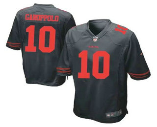 Men's San Francisco 49ers #10 Jimmy Garoppolo Black Alternate Stitched NFL Nike Game Jersey