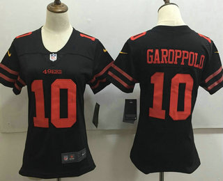 Women's San Francisco 49ers #10 Jimmy Garoppolo Black 2017 Vapor Untouchable Stitched NFL Nike Limited Jersey