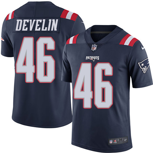 Youth Nike New England Patriots #46 James Develin Navy Blue Stitched NFL Limited Rush Jersey
