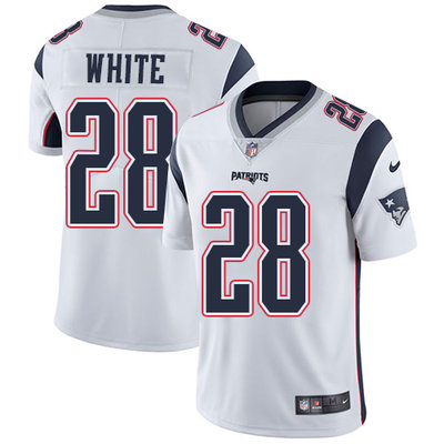 Youth Nike New England Patriots #28 James White White Stitched NFL Vapor Untouchable Limited Jersey