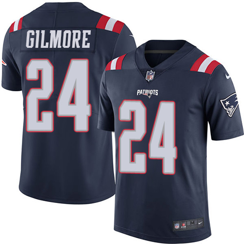 Youth Nike New England Patriots #24 Stephon Gilmore Navy Blue Stitched NFL Limited Rush Jersey