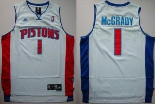 Men's Detroit Pistons 1 Tracy McGrady White Jersey