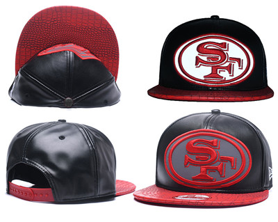 NFL San Francisco 49ers Fresh Logo Black Reflective Adjustable Hat A189