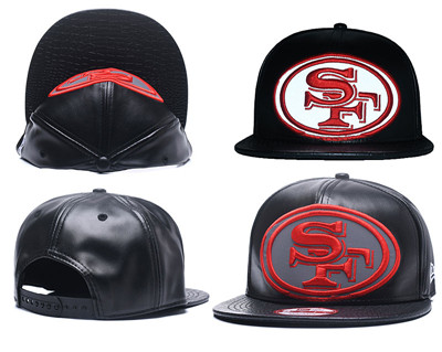 NFL San Francisco 49ers Team Logo Black Reflective Adjustable Hat A25