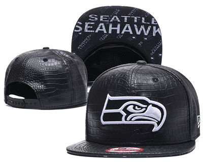 NFL Seahawks Team Logo Black Snapback Adjustable Hat G986