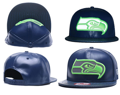 NFL Seahawks Seahawks Team Logo Navy Reflective Adjustable Hat A26