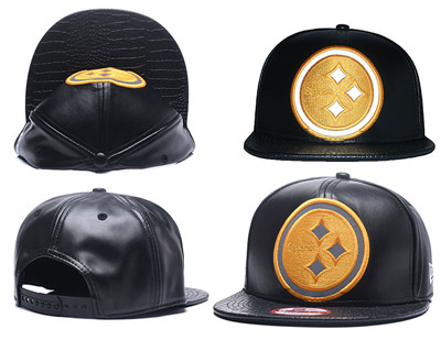 NFL Pittsburgh Steelers Team Logo Black Reflective Adjustable Hat