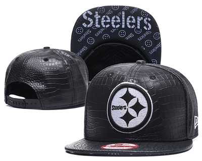 NFL Pittsburgh Steelers Team Logo Black Snapback Adjustable Hat 02