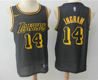 Men's Los Angeles Lakers #14 Brandon Ingram Black 2017-18 Nike City Edition Swingman Jersey