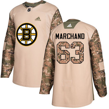 Adidas Bruins #63 Brad Marchand Camo Authentic 2017 Veterans Day Stitched NHL Jersey