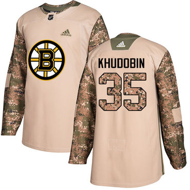 Adidas Bruins #35 Anton Khudobin Camo Authentic 2017 Veterans Day Stitched NHL Jersey