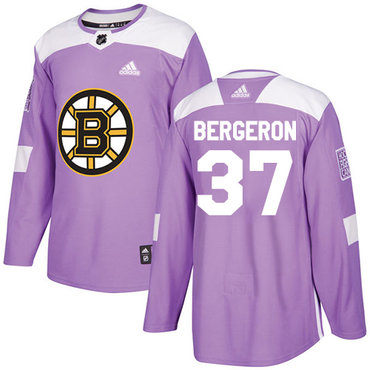 Adidas Bruins #37 Patrice Bergeron Purple Authentic Fights Cancer Stitched NHL Jersey