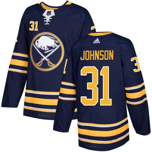 Adidas Sabres #31 Chad Johnson Navy Blue Home Authentic Stitched NHL Jersey