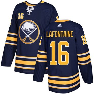 Adidas Sabres #16 Pat Lafontaine Navy Blue Home Authentic Stitched NHL Jersey