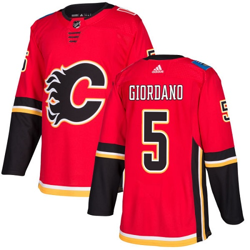 Adidas Flames #5 Mark Giordano Red Home Authentic Stitched NHL Jersey