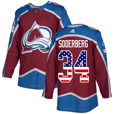 Adidas Avalanche #34 Carl Soderberg Burgundy Home Authentic USA Flag Stitched NHL Jersey