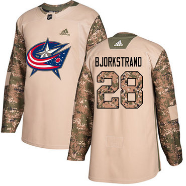 Adidas Blue Jackets #28 Oliver Bjorkstrand Camo Authentic 2017 Veterans Day Stitched NHL Jersey