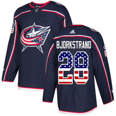 Adidas Blue Jackets #28 Oliver Bjorkstrand Navy Blue Home Authentic USA Flag Stitched NHL Jersey