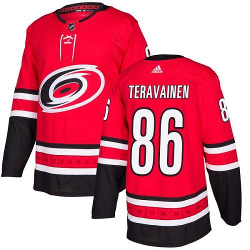 Adidas Hurricanes #86 Teuvo Teravainen Red Home Authentic Stitched NHL Jersey