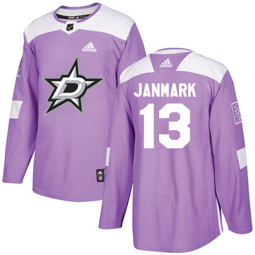 Adidas Stars #13 Mattias Janmark Purple Authentic Fights Cancer Stitched NHL Jersey