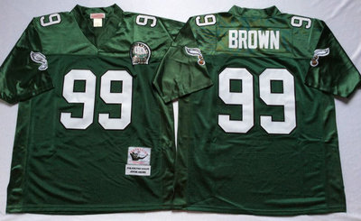 Eagles 99 Jerome Brown Green Throwback Jersey
