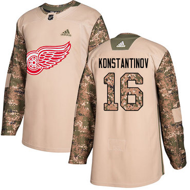 Adidas Red Wings #16 Vladimir Konstantinov Camo Authentic 2017 Veterans Day Stitched NHL Jersey