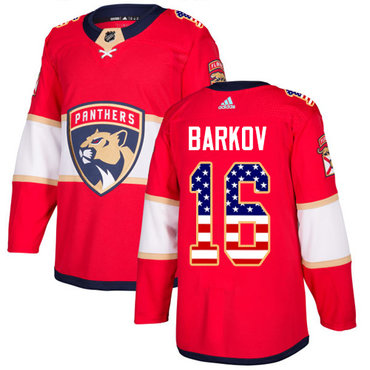 Adidas Panthers #16 Aleksander Barkov Red Home Authentic USA Flag Stitched NHL Jersey