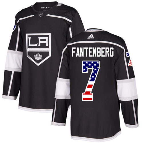 Adidas Kings #7 Oscar Fantenberg Black Home Authentic USA Flag Stitched NHL Jersey
