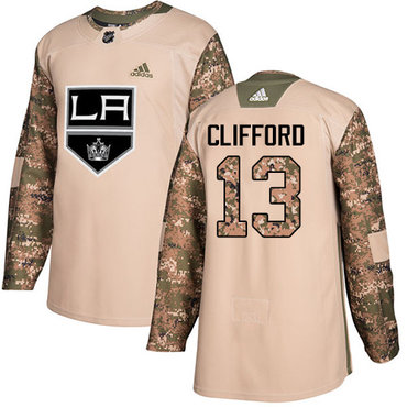 Adidas Kings #13 Kyle Clifford Camo Authentic 2017 Veterans Day Stitched NHL Jersey