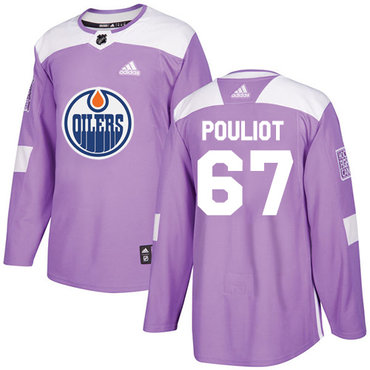 Adidas Oilers #67 Benoit Pouliot Purple Authentic Fights Cancer Stitched NHL Jersey