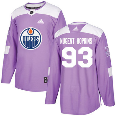 Adidas Oilers #93 Ryan Nugent-Hopkins Purple Authentic Fights Cancer Stitched NHL Jersey