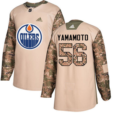 Adidas Oilers #56 Kailer Yamamoto Camo Authentic 2017 Veterans Day Stitched NHL Jersey