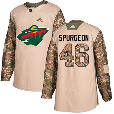 Adidas Wild #46 Jared Spurgeon Camo Authentic 2017 Veterans Day Stitched NHL Jersey