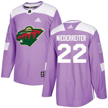 Adidas Wild #22 Nino Niederreiter Purple Authentic Fights Cancer Stitched NHL Jersey