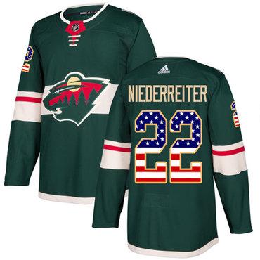 Adidas Wild #22 Nino Niederreiter Green Home Authentic USA Flag Stitched NHL Jersey