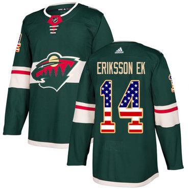 Adidas Wild #14 Joel Eriksson Ek Green Home Authentic USA Flag Stitched NHL Jersey