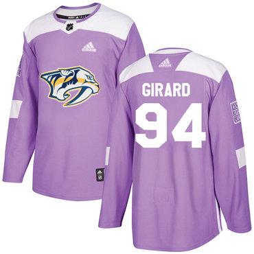 Adidas Predators #94 Samuel Girard Purple Authentic Fights Cancer Stitched NHL Jersey