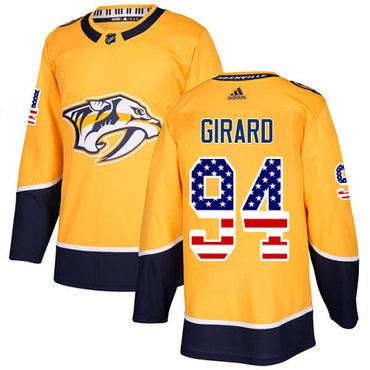 Adidas Predators #94 Samuel Girard Yellow Home Authentic USA Flag Stitched NHL Jersey
