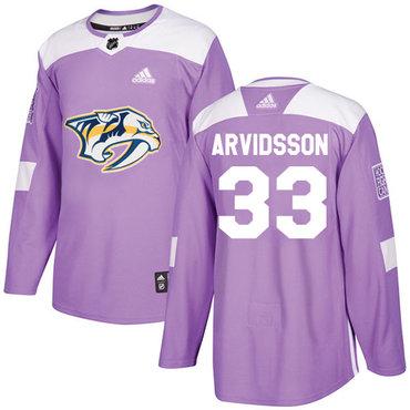 Adidas Predators #33 Viktor Arvidsson Purple Authentic Fights Cancer Stitched NHL Jersey