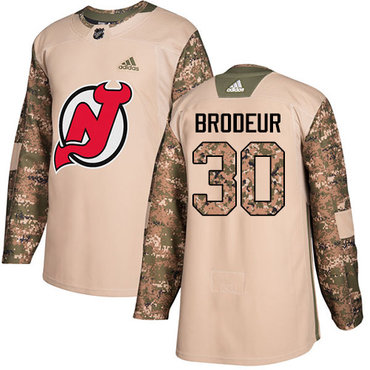 Adidas Devils #30 Martin Brodeur Camo Authentic 2017 Veterans Day Stitched NHL Jersey
